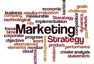 marketing strategy concept word cloud on white